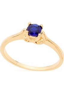 Anel Skinny Ring Solitário Com Cristal Redondo Rommanel - Feminino-Azul