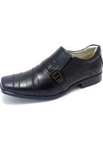 Sapato Couro Pizaflex Recortes Preto