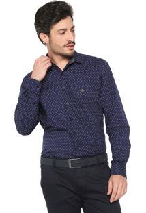 ... Camisa Dudalina Reta Estampada Azul-Marinho 7daab3bdd5af8