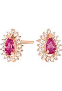 Brinco Ouro Rosã© Rodolita E Diamantes