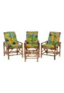 Conjunto Mesa E 3 Cadeiras De Bambu Cancun Para Área Edicula Jardim G33