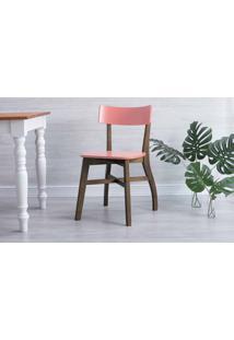 Cadeira Para Cozinha De Madeira Bella Capuccino E Rosa Coral 44X51X82 Cm
