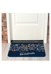 Tapete De Natal Para Porta Christmas Blue Único