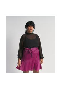 Blusa De Tule Poá Texturizado Com Lastex Na Gola Curve E Plus Size Preto