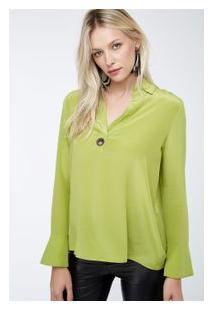 Camisa Seda Polo Ilhos Lisa Inv 19 Verde Brilhante
