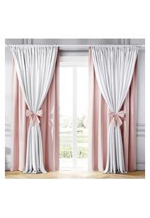 Cortina Clássica Com Laços Rosa E Branco 2,30M Gráo De Gente Rosa