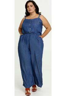 Macacão Feminino Jeans Alças Finas Plus Size