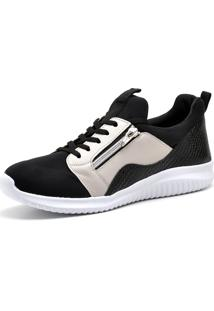 Tênis Trivalle Shoes Lycra Preto/Neve