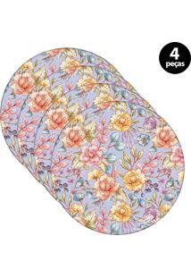 Sousplat Mdecore Floral 32X32Cm Roxo 4Pçs