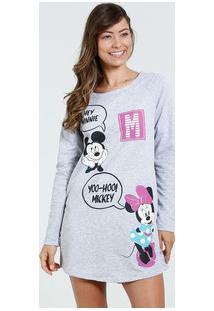 Camisola Feminina Estampa Mickey Minnie Manga Longa Disney