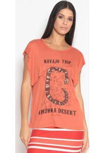 """Camiseta """"Nanvajo Trip""""- Laranja & Preto- Colccicolcci"""
