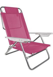 Cadeira Reclinável Summer Rosa Alumínio E Pvc Mor