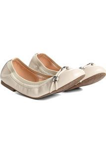 Sapatilha Couro Shoestock Elástico Metais Feminina - Feminino-Off White