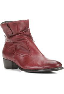 Bota Couro Shoestock Slouch Cano Curto Feminina - Feminino-Bordô
