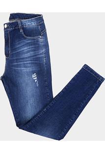 0da96c690 ... Calça Jeans Cigarrete Sawary Puídos Estonada Cintura Média Feminina -  Feminino