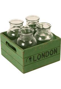 Conjunto De Garrafas De Vidro Decorativas London