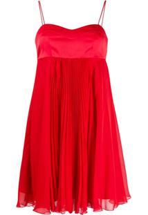 Pinko Vestido Com Recorte De Cetim - Vermelho