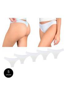 Kit Com 5 Calcinhas Fio Dental Try Basics Confortável Cotton Algodão Top Qualidade Costura Reforçada Premium Branco