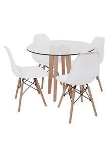 Conjunto Mesa De Jantar Em Vidro 90Cm Com Base Vértice + 4 Cadeiras Eiffel - Branca