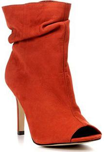 Ankle Boot Couro Shoestock Slouch Salto Fino - Feminino