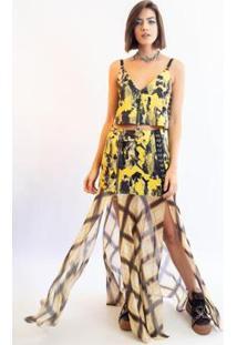Saia Caos Longa Musseline Estampa Mix Tartan Camoufl Feminina - Feminino-Amarelo