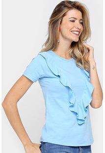 Blusa Drezzup Babados Feminina - Feminino-Azul Claro