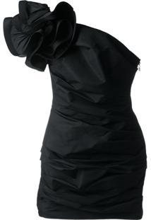 Elisabetta Franchi Vestido Ombro Único Com Franzido - Preto