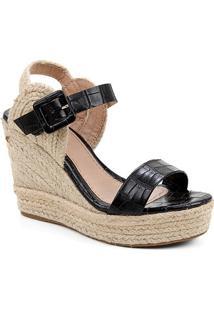 Sandália Plataforma Shoestock Crocodiles Corda Feminina - Feminino-Preto