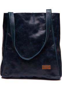 Bolsa Feminina Em Couro Azul Marinho - Passiflora / Floater Marinho 20