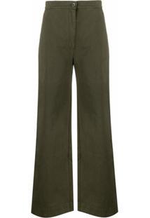 Katharine Hamnett London Calça Pantalona Anna De Algodão Orgânico - Verde