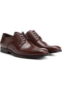 Sapato Social Couro Shoestock Bico Redondo - Masculino-Café
