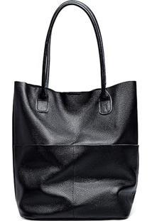 Bolsa Line Store Leather Sacola Shopper N1 Bolsos Couro Preto
