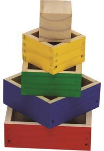 Cubos De Encaixe 05 Caixas De Encaixe Coloridas Med. 13X13X9Cm - Tricae