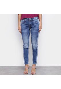Calça Jeans Sawary Cigarrete Estonada Feminina - Feminino-Azul