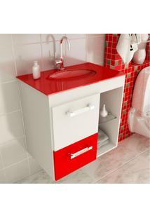 Gabinete Linea 12 60 Cm 1 Porta 1 Gaveta Branco & Vermelho