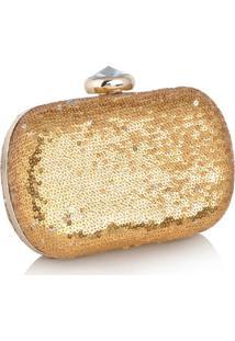 Clutch Poquet Bolsas Paetê Dourada