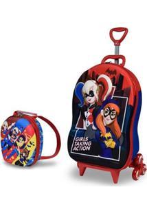 Mochila Escolar 3D Com Rodinhas E Lancheira Maxtoy Super Hero Batgirl Harley Quinn Feminina - Feminino-Vermelho