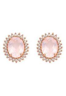 Brinco Ouro Rosé Quartzos Rosas E Diamantes