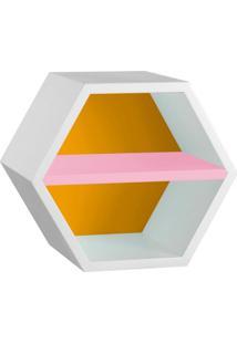 Nicho Hexagonal Favo Ii Com Prateleira Branco Com Amarelo E Rosa Cristal