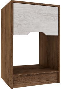Mesa De Cabeceira Com 1 Gaveta Cr0100 – Rodial - Cacau / Blanc
