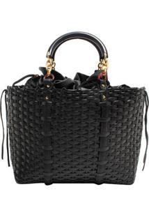 Bolsa Shop Bag Trançada - Feminino-Preto