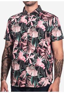 Camisa Folhagem Rosa 200098