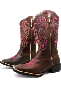 Bota Texana Cafe Com Bordado Rosa