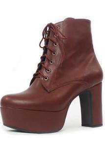 Bota Cano Curto Damannu Shoes Debbie Feminina - Feminino-Vermelho