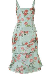 Brock Collection Vestido Com Amarração E Estampa De Rosas - Verde