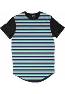 Camiseta Longline Long Beach Náutica Listras Sublimada Masculina - Masculino-Marinho