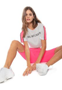 Blusa Fiveblu Lettering Neon Off-White/Pink