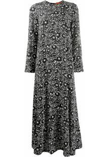 Colville Vestido Longo Com Estampa Floral De Seda - Preto