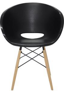 Cadeira Elena Em Polipropileno Com Base 3D Aço Cromado E Madeira Tramontina