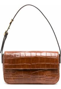Staud Crocodile-Effect Leather Shoulder Bag - Marrom